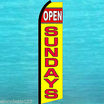 Open Sundays Swooper Flag Tall Flutter Feather Vertical Advertising Sign Banner