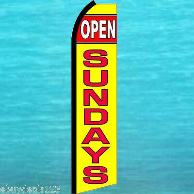 Open Sundays Swooper Flag Tall Flutter Feather Vertical Advertising Sign Banner