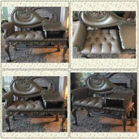 Stunning upcycled telephone table/gossip chair