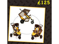 BRAND NEW HAUCK FREERIDER IN YELLOW DOUBLE TANDEM PUSHCHAIR ALSO SINGLE WITH RAIN Cover