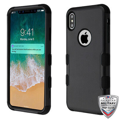 Apple iPhone XS Max Hybrid Rugged Shockproof Protective Phone Case Cover - Black Apples