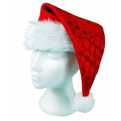 Luxury Velvet Father Christmas Santa Hat Deluxe Xmas With Snow Bobble UK