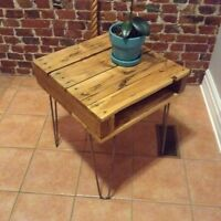 Rustic Solid Oak End/Side Table on Hairpin Legs