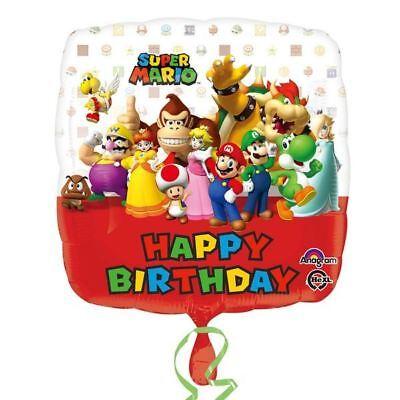 ros Wii Enfants Fête Joyeux Anniversaire Carré Feuille (Mario Bros Ballons)
