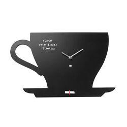 Present Time Chalkboard Wall Clock Cup Of Tea Silhouette Writable Blackboard