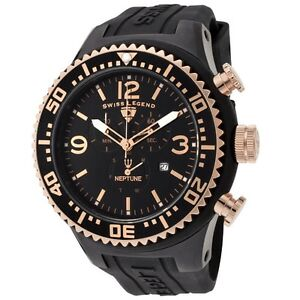 Swiss Legend Men's RARE 11812P-BB-01 Neptune Chronograph Black Dial Watch