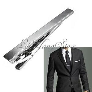 Men Boys Metal Silver Tone Simple Style Necktie Tie Bar Clasp Clip Practical 6CM