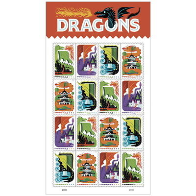 USPS Dragons Sheet of 16 Forever Stamps