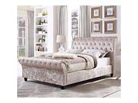 ***New***Stylish Sleigh Chesterfield Designer Crushed Velvet Bed (07440 332255)