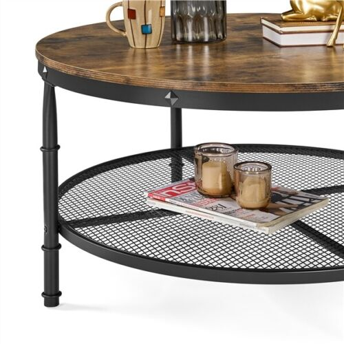 2-Tier Rustic Round Coffee Table Home Furniture w/ Storage Shelf for Living Room 4