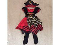 Girls 3-piece scary pirate Halloween costume 7-8 years
