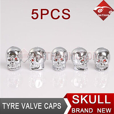 5PCS Skull Style Car Auto Wheel Aluminum Alloy Tire Valve Caps Tyre Stems Cover