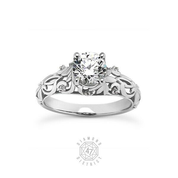 0.58ct Tw H Vs2 Round Cut Natural Certified Diamonds 14k Gold Sidestone Ring