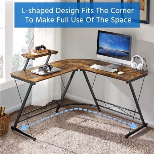 L Shaped Computer Desk Corner Computer Gaming Laptop Table W