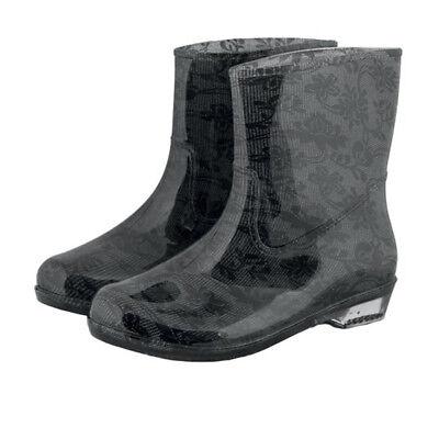 Schwarze Stiefel Frauen (Gummistiefel Damen Regenstiefel Frauen Stiefeletten Blumen Schwarz Grau Gr.36-41)