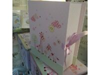 Baby girl giraffe design pink keepsake box with drawers