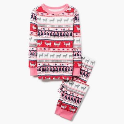 NWT Gymboree Christmas Girls Gymmies Fair Isle Reindeer Deer Pajama Set