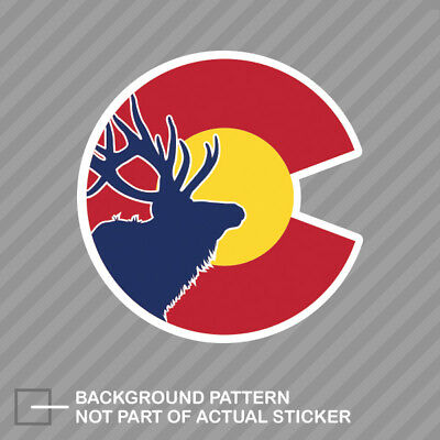 Colorado State Flag Elk Sticker Die Cut Decal CO hunter hunting archery hunter