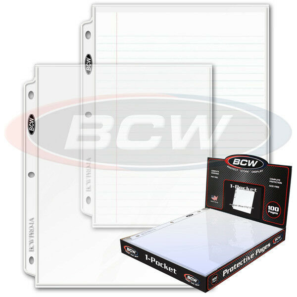 100  1 Pocket 8 1/2 x 11 Photo Page Sheet Protector BCW Pro1A for 3 ring binders