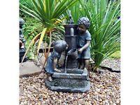 Boy & Girl Hand Pump Garden Water Feature with LED light (Brand New)