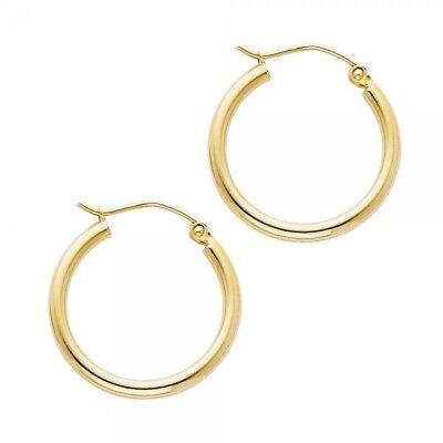 2mm Small Hoop Earrings (14K Solid Yellow Gold 2mm Plain Hoop Earrings Small 20mm 0.7
