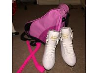 Size4 GRAF Davos Gold Ice Skates with pink skate guards and bag!