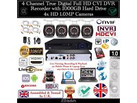4 Camera Full CCTV Kit, 4CH FULL HD CVI DVR 1TB HDD, 4x HD IR-Cut CMOS Day/Night Bullet Cameras