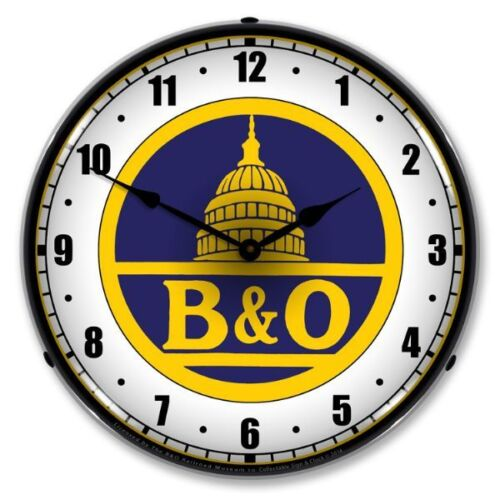 NEW  B & O  RAILROAD 1  RETRO LED LIGHTED ADVERTISING CLOCK FREE SHIPPING*