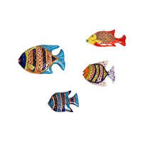 Handmade pottery fish family set NEW, colorful wall decoration