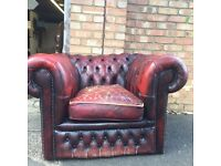 Chesterfield leather oxblood club chair