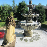 Concrete Lion Bench and Lion Fountains