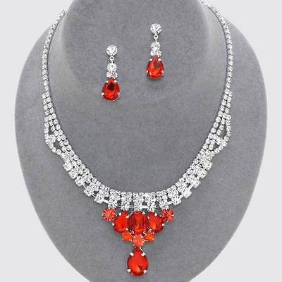 Chunky Red Crystal Silver Chain Earring Necklace Set Fashion Costume Jewelry
