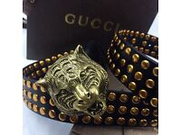 Lion buckle studded dotted statement large trendy mens leather belt versace boxed fantastic gift