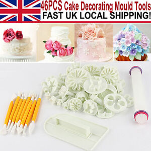 46PCS Fondant Sugarcraft Cake Decorating Icing Plunger Tools Cutters Moulds Hot