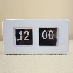 Retro Auto Flip Clock Table Desk Wall Kitchen White New