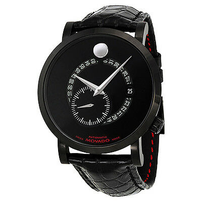 Movado Red Label Automatic Animated Date Small Seconds Black Dial Mens Watch
