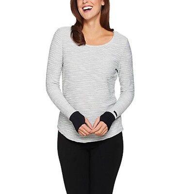Terramar Hot Totties Women's Melange Gray French Knit Scoop Neck Top Size L