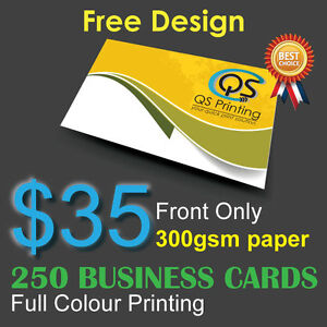 250 Business Cards full colour Printing (Front Only) on 300gsm paper+FreeDesign
