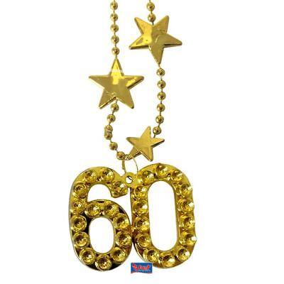 1 HALSKETTE 60. GEBURTSTAG DEKO PARTY KETTE GOLDFARBEND GESCHENK PARTY 60  ()