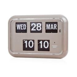 Twemco QD35 Retro Modern Flip Clock Wall Calendar Made in Hong Kong Gray Grey