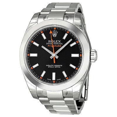 Rolex Milgauss Black Index Dial Domed Bezel Oyster Bracelet Mens Watch