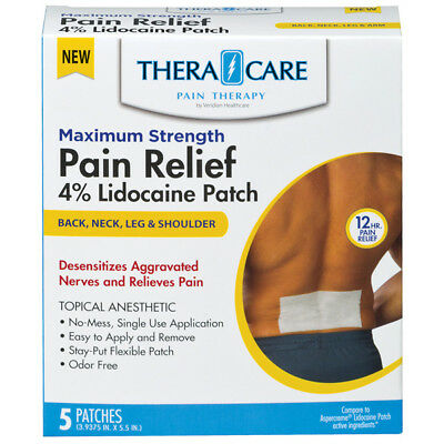 TheraCare Lidocaine 4% Pain Relief Patch 5ct (PACK OF 3)