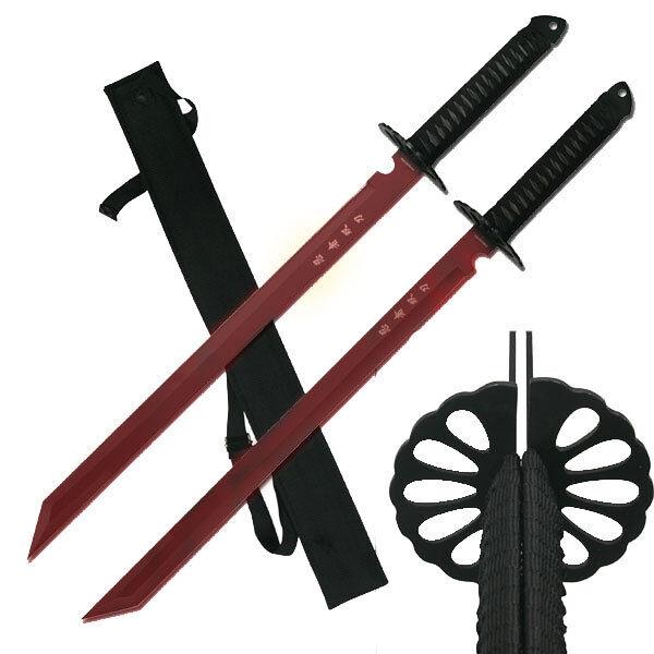 "2 PC Full Tang 26"" Ninja Samurai Twin Tanto Blade Sword Machete Katana Red Set"