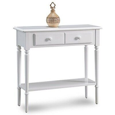 Leick Furniture  Orchid White Coastal Narrow Hall Stand/Sofa Table With Shelf