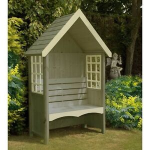 NEW Wooden Garden Arbour FSC Treated Timber Natural Wooden Seat Bench 'Mimosa'