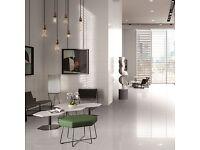 NEW - White Porcelain Quartz Effect Wall & Floor Tile (60x60)