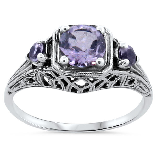 GENUINE AMETHYST 925 SILVER ART DECO ANTIQUE STYLE 3 STONE RING SIZE 10     #193