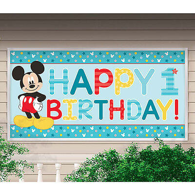 New Mickey Mouse 1st Birthday Plastic 33.5 inch X 65 inch Banner Decoration ](Mickey Birthday Decorations)