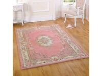 BEAUTIFUL PALE PINK WITH FLORAL BORDER DESIGN PERSIAN WOOL RUG APPROX 6 X7FT (NEW)