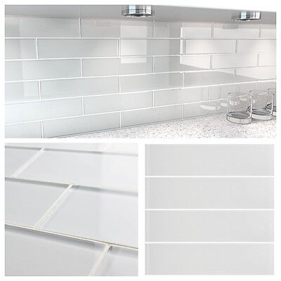 """3""""x12"""" White Crystal Glass Subway Tile For Kitchen Bathroom Shower Spa Wall"""